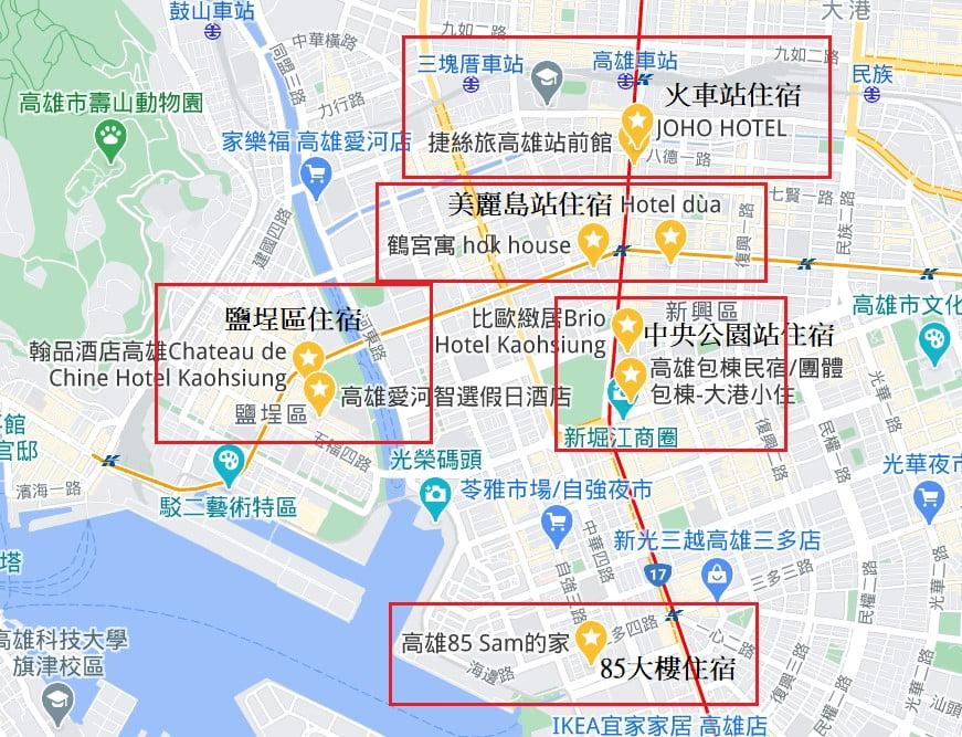 高雄飯店住宿地圖