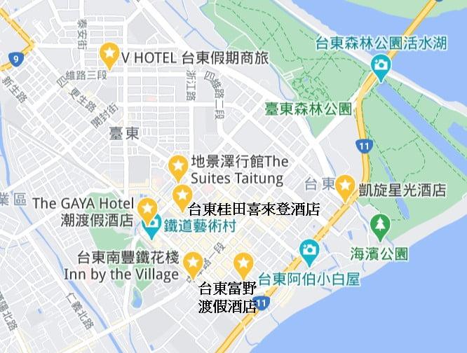 台東市區住宿推薦地圖