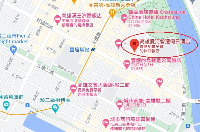 高雄愛河智選假日酒店位置
