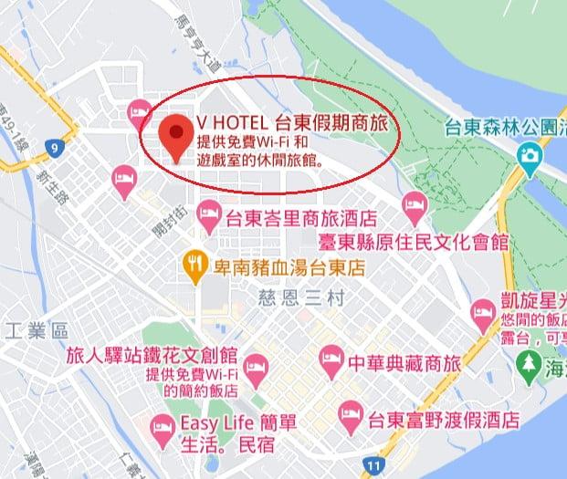 V-Hotel台東假期商旅位置