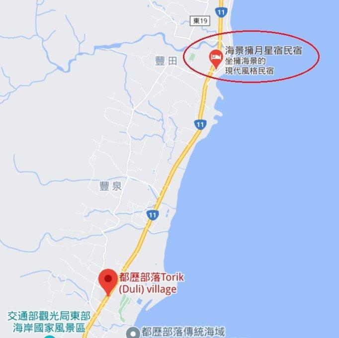 台東海景擁月星宿民宿位置