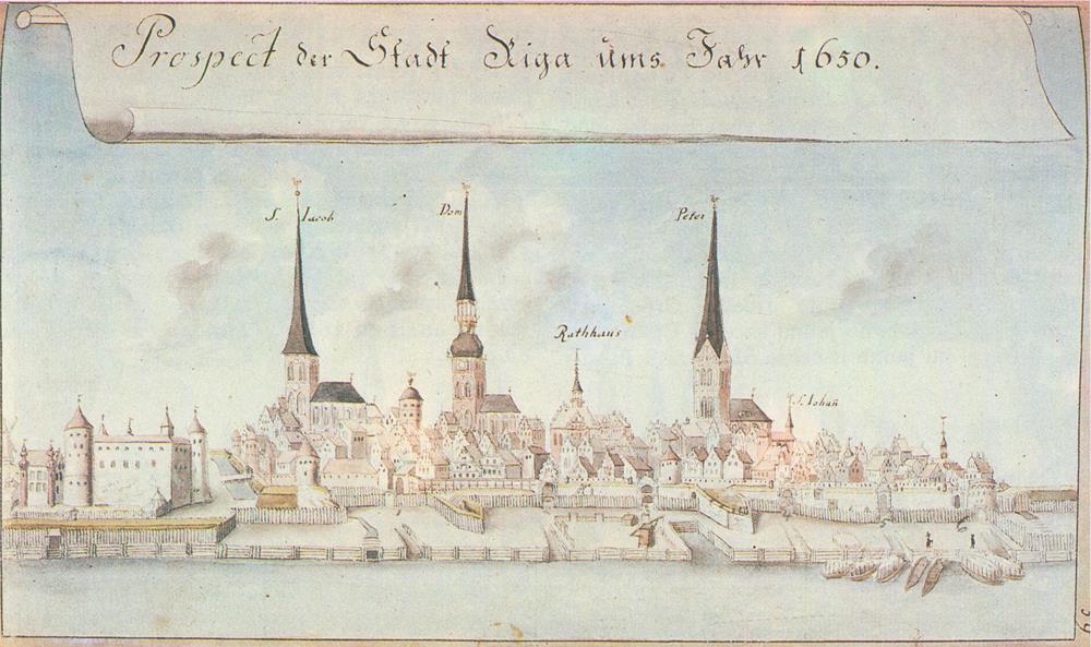 1650年的里加畫像,一眼就看到著名的三尖塔