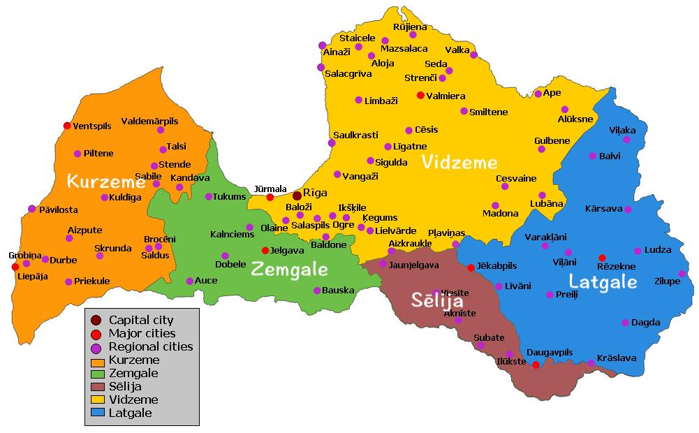 拉脫維亞區域圖
