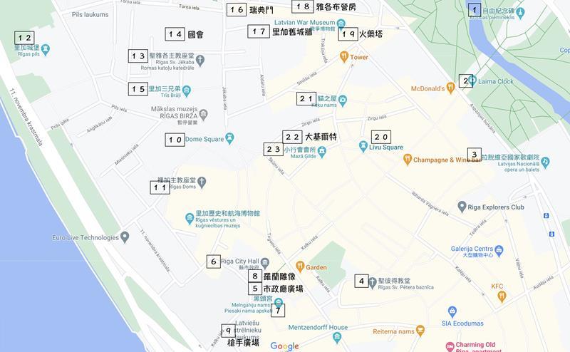里加舊城區景點分佈圖