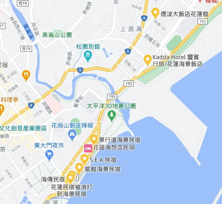 花蓮海景住宿推薦地圖