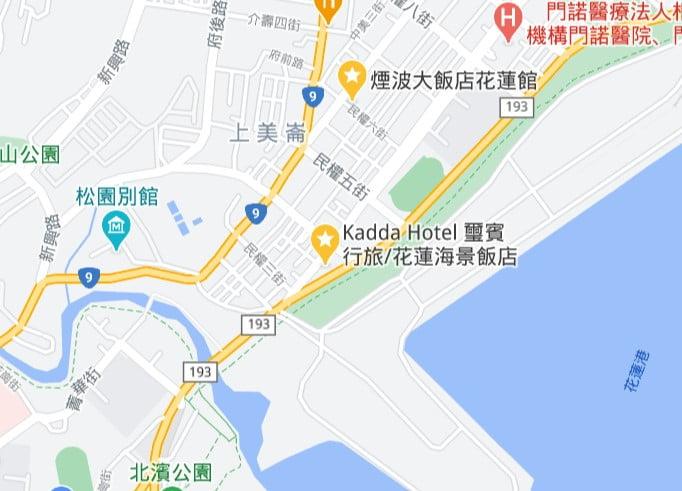 花蓮海景飯店推薦地圖