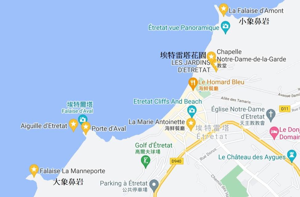 埃特雷塔景點地圖