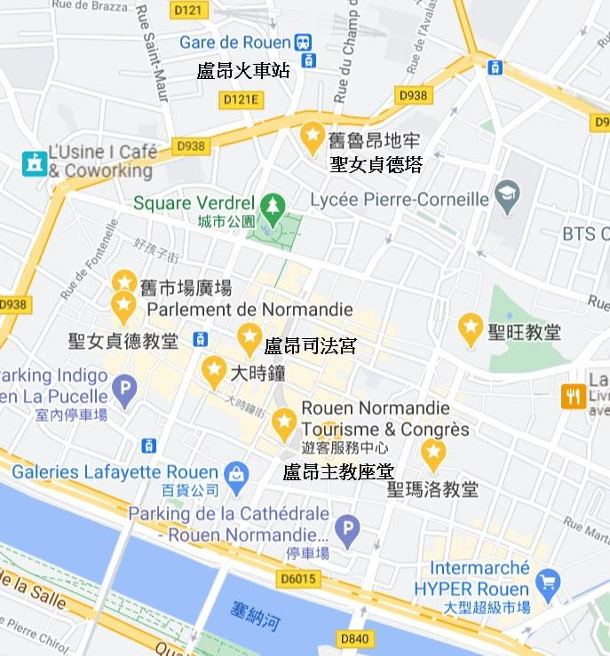 盧昂景點地圖