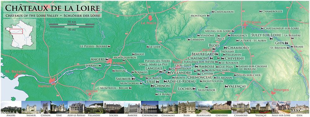 羅亞爾河谷城堡群地圖