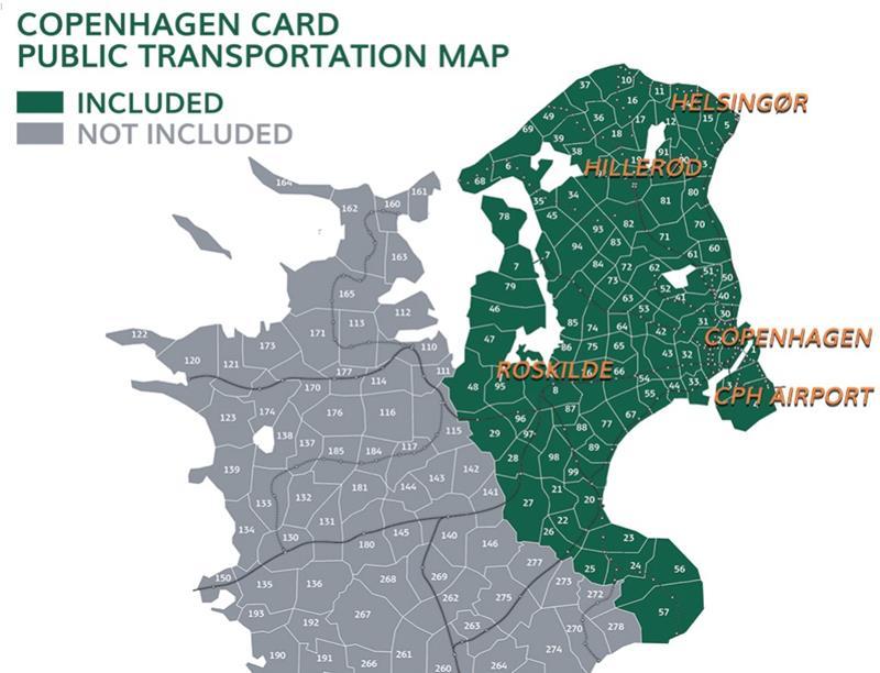 哥本哈根卡大眾交通工具可使用範圍
