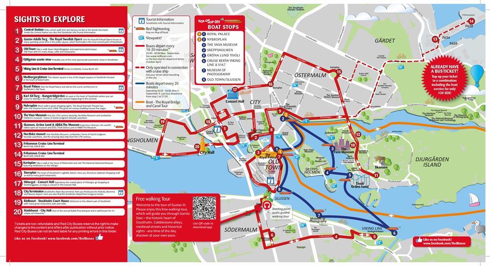 斯德哥爾摩Pass包括地巴士及遊船路線圖